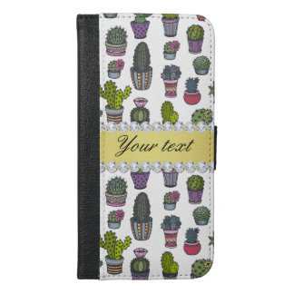 Cactus Faux Gold Bling Diamonds iPhone 6/6s Plus Wallet Case