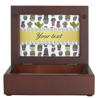 Cactus Faux Gold Bling Diamonds Keepsake Boxes