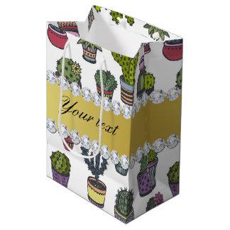 Cactus Faux Gold Bling Diamonds Medium Gift Bag