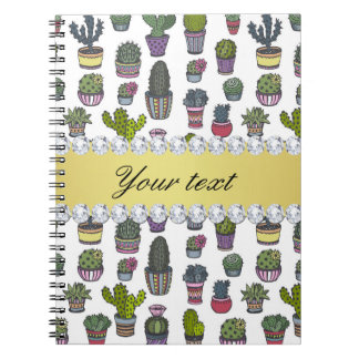 Cactus Faux Gold Bling Diamonds Notebook