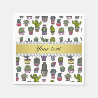 Cactus Faux Gold Bling Diamonds Paper Napkins