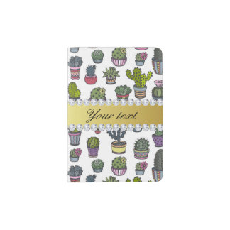 Cactus Faux Gold Bling Diamonds Passport Holder
