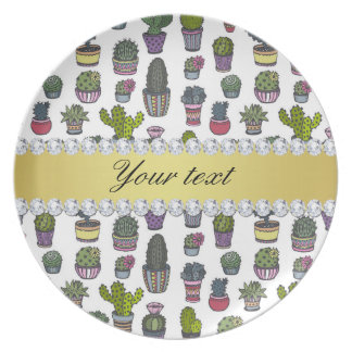 Cactus Faux Gold Bling Diamonds Plate