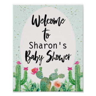 Cactus Fiesta Baby Shower Welcome Poster
