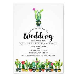 Cactus Floral Rustic Southwestern Boho Wedding Card