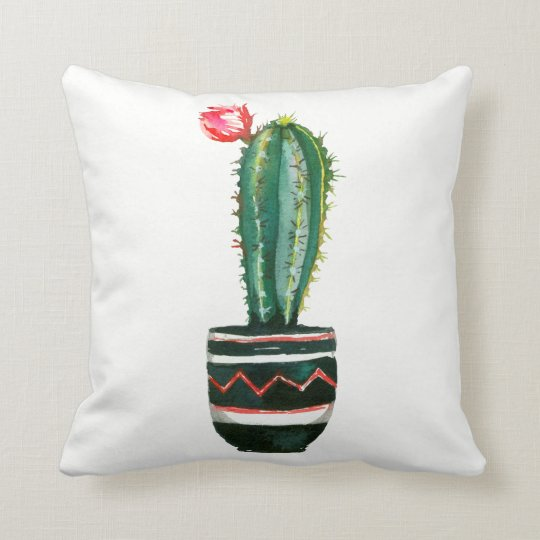 Cactus Floral Watercolor Southwestern Boho Chic Throw Pillow