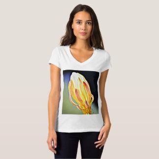 Cactus Flower on Bella's Vee Neck Jersey Tee Shirt