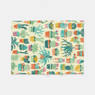Cactus Flower Pattern Fleece Blanket