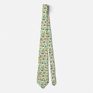 Cactus Flower Pattern Neck Tie