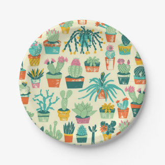 Cactus Flower Pattern Paper Plate 7 Inch Paper Plate
