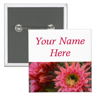 Cactus flower pin-back name tag 2 inch square button