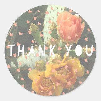 Cactus Flower Polka Dot Thank You Round Sticker