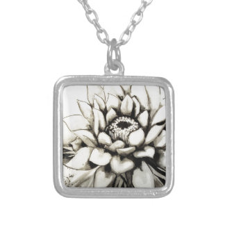Cactus Flower Silver Plated Necklace