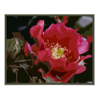 Cactus Flower Stylized Wall Art Poster
