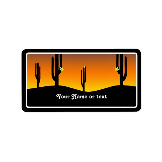 Cactus Flower Sunset Label