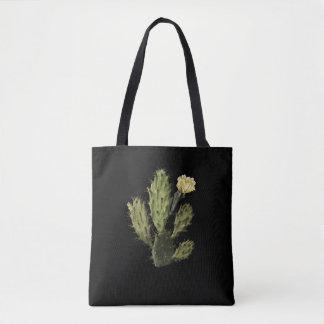 Cactus Flower Vintage Drawing Black Tote Bag