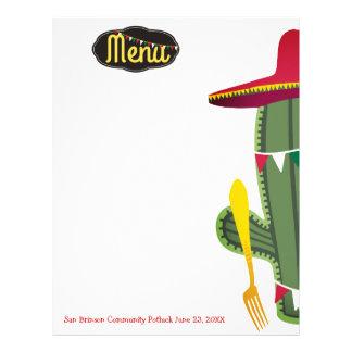 Cactus fork Mexican food menu letterhead