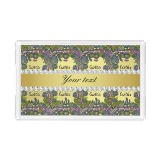 Cactus Frame Pattern Faux Gold Foil Bling Diamonds Acrylic Tray