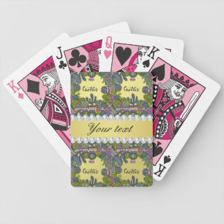 Cactus Frame Pattern Faux Gold Foil Bling Diamonds Bicycle Playing Cards