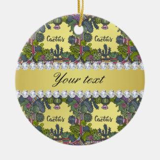 Cactus Frame Pattern Faux Gold Foil Bling Diamonds Ceramic Ornament