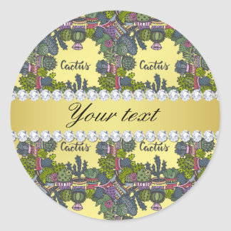Cactus Frame Pattern Faux Gold Foil Bling Diamonds Classic Round Sticker