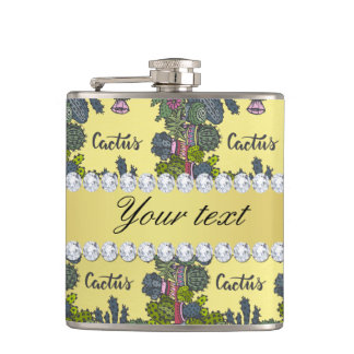 Cactus Frame Pattern Faux Gold Foil Bling Diamonds Flask