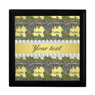 Cactus Frame Pattern Faux Gold Foil Bling Diamonds Gift Box