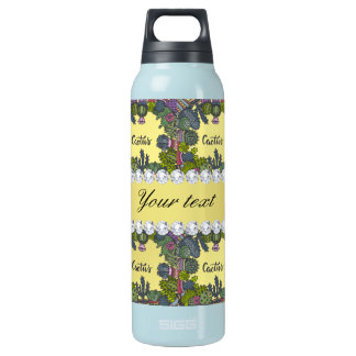 Cactus Frame Pattern Faux Gold Foil Bling Diamonds Insulated Water Bottle