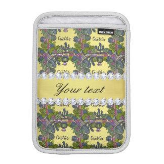 Cactus Frame Pattern Faux Gold Foil Bling Diamonds iPad Mini Sleeves