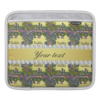 Cactus Frame Pattern Faux Gold Foil Bling Diamonds iPad Sleeve