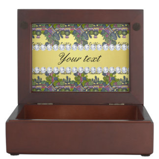 Cactus Frame Pattern Faux Gold Foil Bling Diamonds Keepsake Box