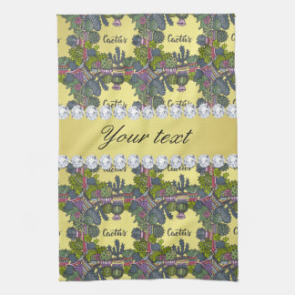 Cactus Frame Pattern Faux Gold Foil Bling Diamonds Kitchen Towel