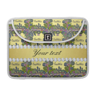 Cactus Frame Pattern Faux Gold Foil Bling Diamonds MacBook Pro Sleeve