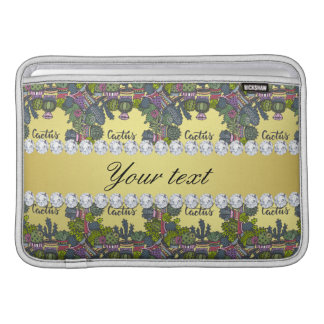 Cactus Frame Pattern Faux Gold Foil Bling Diamonds MacBook Sleeve