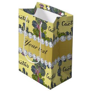 Cactus Frame Pattern Faux Gold Foil Bling Diamonds Medium Gift Bag