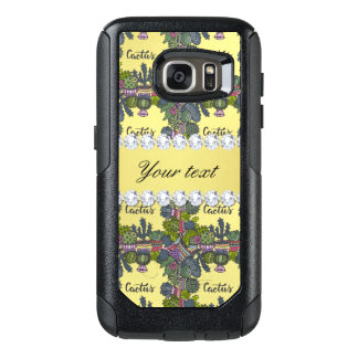 Cactus Frame Pattern Faux Gold Foil Bling Diamonds OtterBox Samsung Galaxy S7 Case