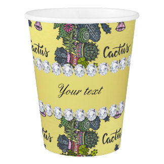 Cactus Frame Pattern Faux Gold Foil Bling Diamonds Paper Cup