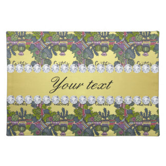Cactus Frame Pattern Faux Gold Foil Bling Diamonds Placemat