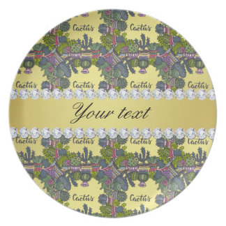 Cactus Frame Pattern Faux Gold Foil Bling Diamonds Plate