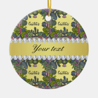 Cactus Frame Pattern Faux Gold Foil Bling Diamonds Round Ceramic Ornament