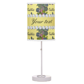 Cactus Frame Pattern Faux Gold Foil Bling Diamonds Table Lamp