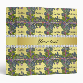 Cactus Frame Pattern Faux Gold Foil Bling Diamonds Vinyl Binders