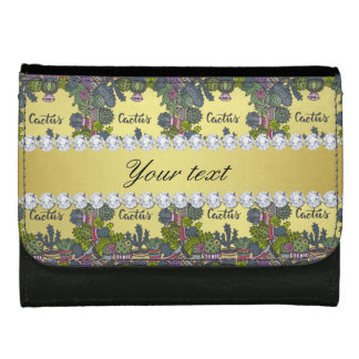 Cactus Frame Pattern Faux Gold Foil Bling Diamonds Wallets