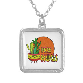 Cactus - free hugs silver plated necklace