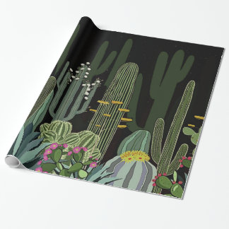 Cactus Garden at Night Wrapping Paper
