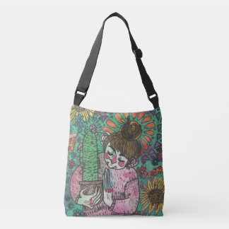 Cactus Girl Tote Bag in Green