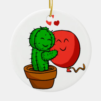 Cactus hugging balloon ceramic ornament