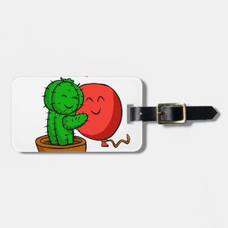 Cactus hugging balloon luggage tag