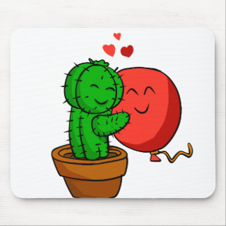 Cactus hugging balloon mouse pad