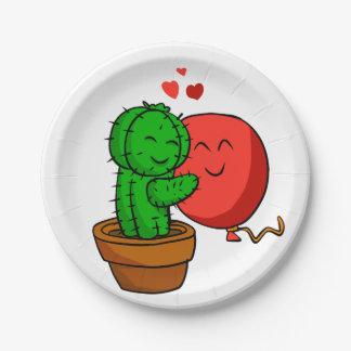 Cactus hugging balloon paper plate